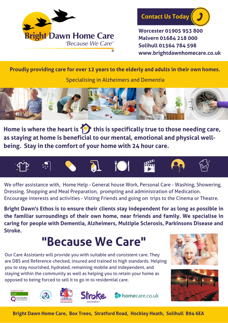 Bright Dawn Home Care A4 Advert PNG