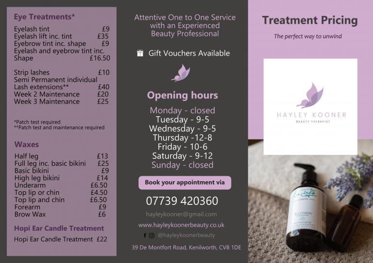 Hayley Kooner Beauty Treatment Pricing_1
